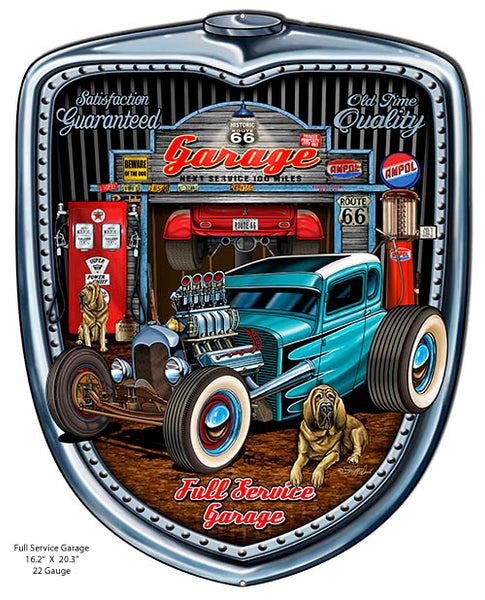 Historic 66 Hot Rod Garage Cut Out Sign By Steve McDonald 15.5x19.5