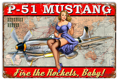 P-51 Mustang Airplane Pin Up Girl Baby Sign By Steve McDonald 12x18