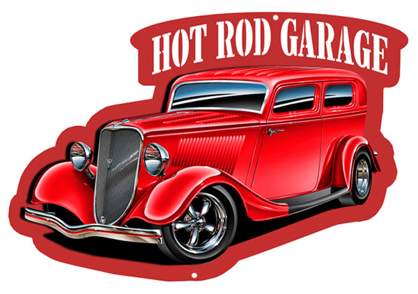 Hot Rod Garage Automobile Cut Out With 3D Effect Metal Sign 13.5x20.5