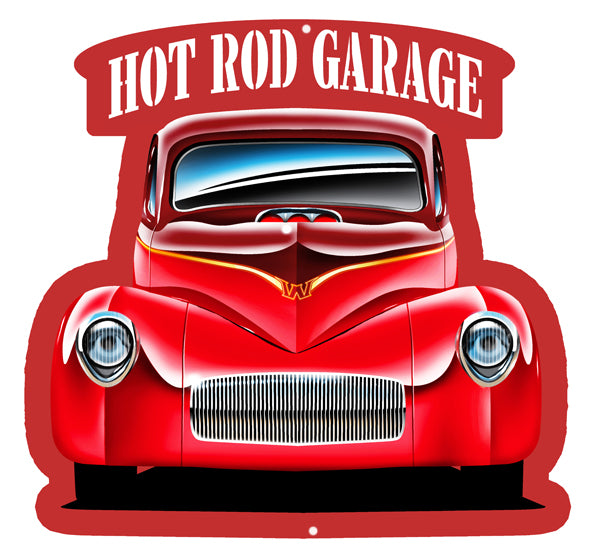 Hot Rod Front End Cut Out 3D Effect Wall Art Metal Sign 17x18