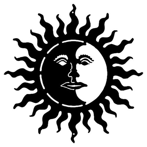 Sun With Face Cut Out Black Silhouette Metal Sign 18x18
