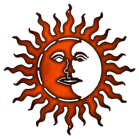 Sun With Face Cut Out Faux Copper Finish Metal Sign 18x18