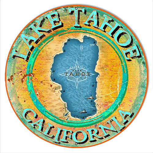 Lake Tahoe California Metal Sign By Phil Hamilton 14x14 Round