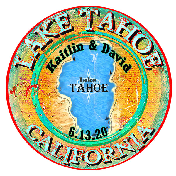Lake Tahoe California Metal Sign By Phil Hamilton 30x30 Round - custom