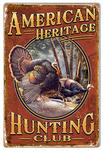 American Heritage Hunting Club Fishing Metal Sign 12x18