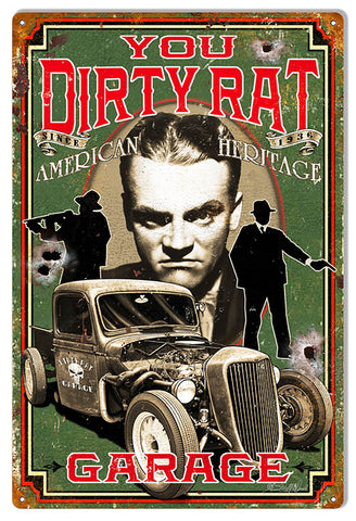 Dirty Rat Garage Hot Rod Man Cave Metal Sign 12x18