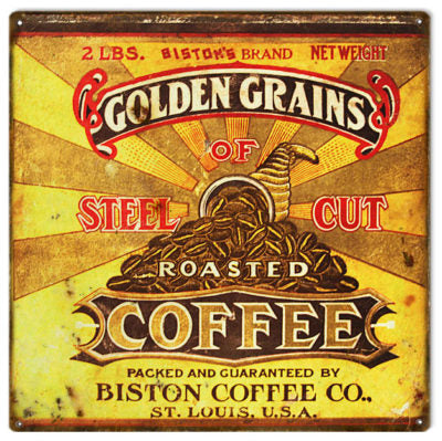 Biston Steel Cut Coffee Reproduction Metal Sign 12x12