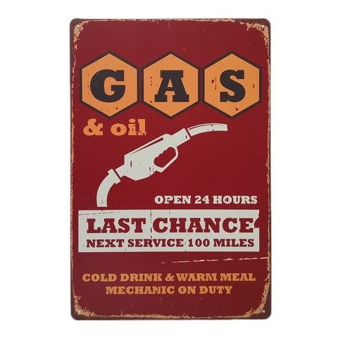 Gas & Oil Station Retro Metal Art Sign