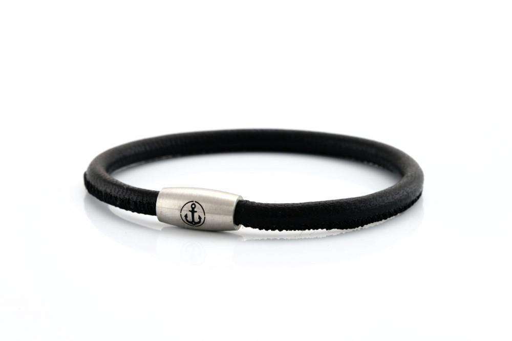 neptn women bracelet JUNO Anker Stahl Single 4 schwarz nappa leather