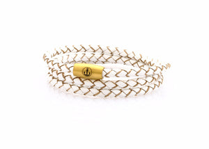 neptn women bracelet JUNO Anker Gold Triple 4 white leather