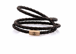 neptn women bracelet JUNO Anker Rosegold Triple 4 dark brown leather