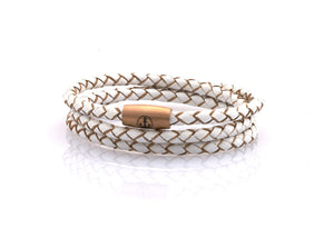 neptn women bracelet JUNO Anker Rosegold Triple 4 white leather
