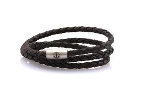 neptn women bracelet JUNO Anker Stahl Triple 4 anticbrown leather