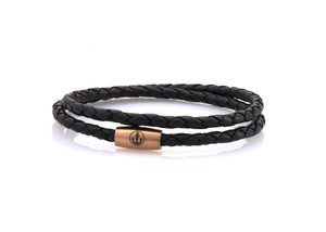 neptn women bracelet JUNO Anker Rosegold double 4 schwarz leather