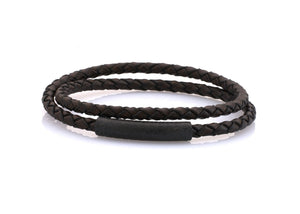 neptn women bracelet MINERVA F.o.L. Schwarz double 4 dark brown leather