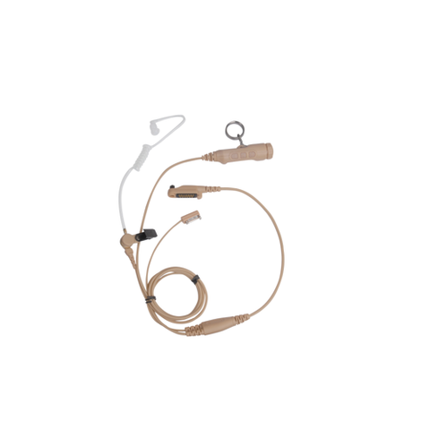 Hytera 3 Wire Dual PTT Surveillance Earpiece With Transparent Acoustic Tube (Beige)
