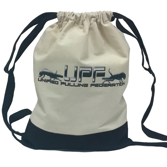 R - UPF Tan & Black Drawstring Bag