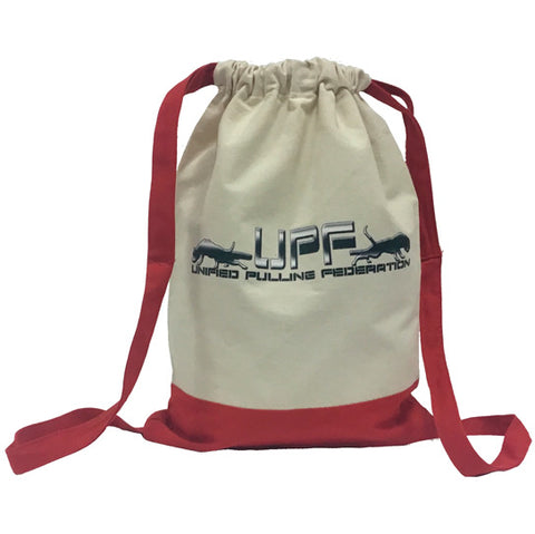 Q - UPF Tan & Red Drawstring Bag