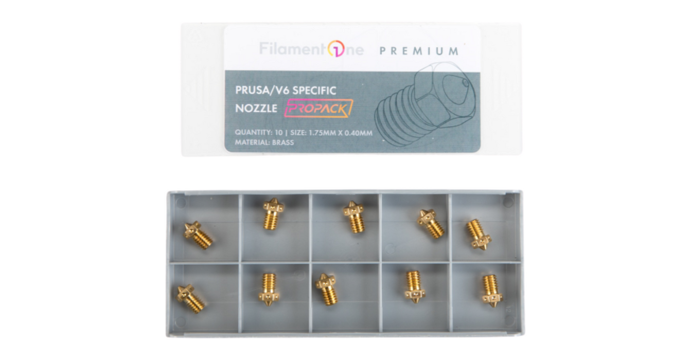 PROPACK Prusa/V6 Specific Brass Nozzle 1.75mm x 0.40mm Pack of 10