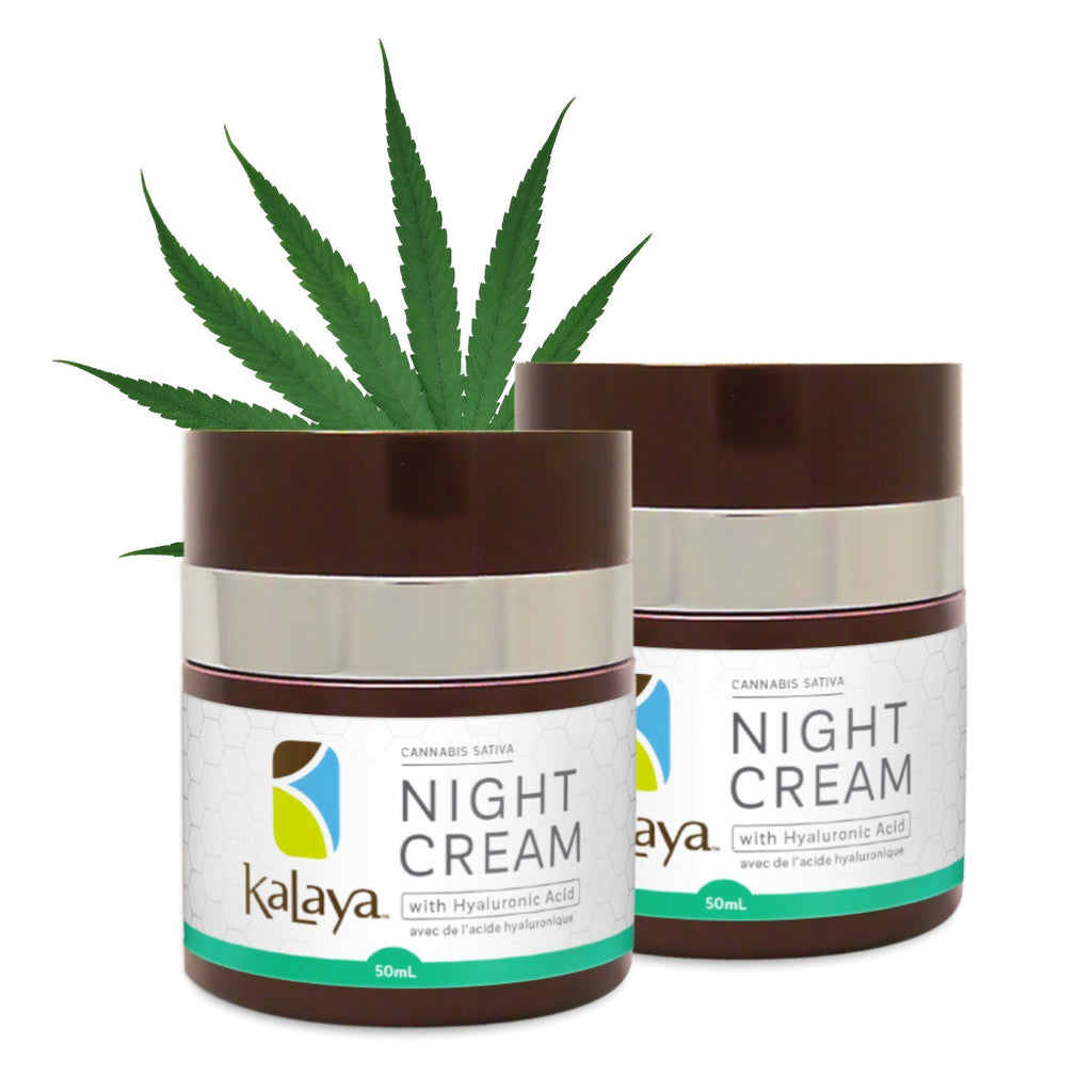 DUO of Kalaya Cannabis Sativa Seed Oil Night Cream with Hyaluronic Acid - eVitality.ca