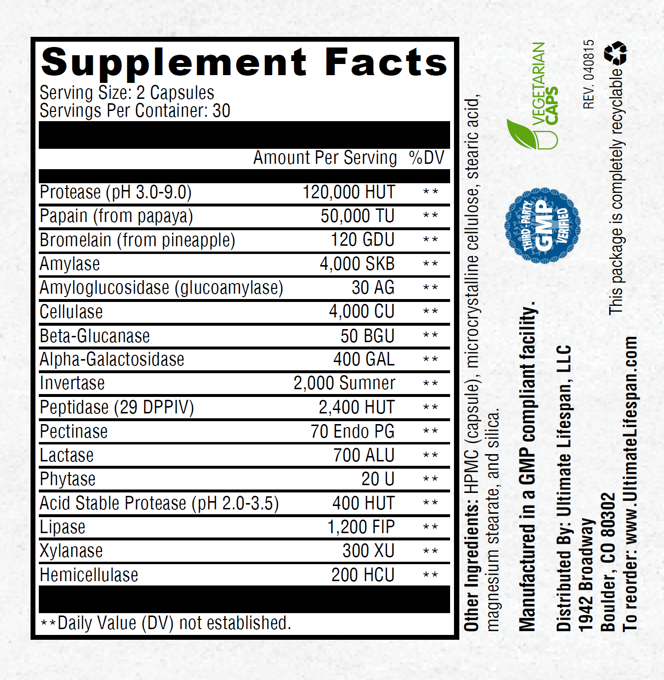 Ultimate Digestive Enzymes Nutrition Facts