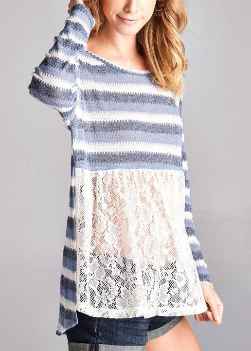 Blue Lace Sweater