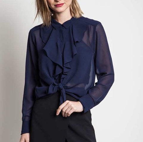 Navy Sheer Ruffle Top