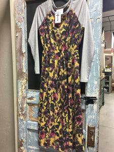 Yellow Floral Grey Sleeves