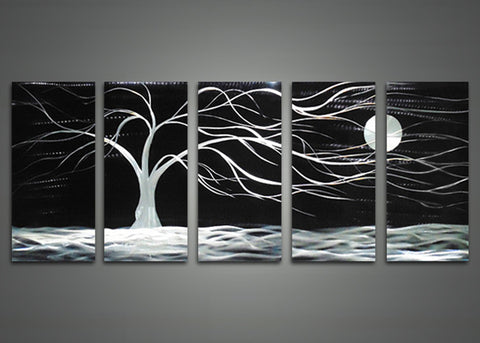Black Abstract Tree Metal Wall Art - 60x24