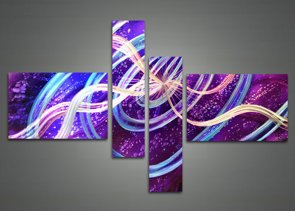 Purple Metal Wall Art Painting 601 - 63x32in