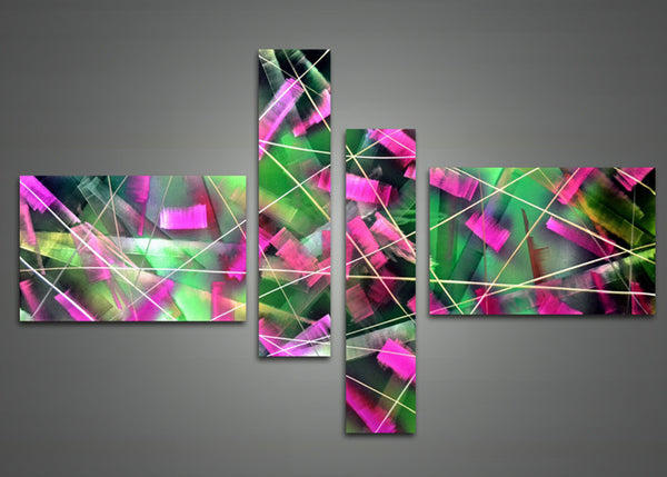Pink and Green Metal Wall Art 602 - 63 x 32in