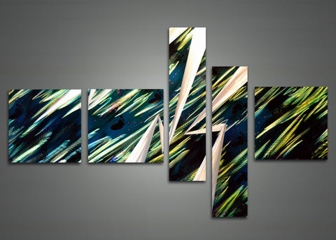 Blue Abstract Metal Wall Art Painting 609 - 63 x 32in