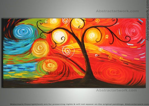 1 Panel Red Abstract Art Painting 48x24in