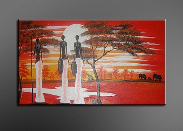 Large African Woman Painting 106L - 48x24iin