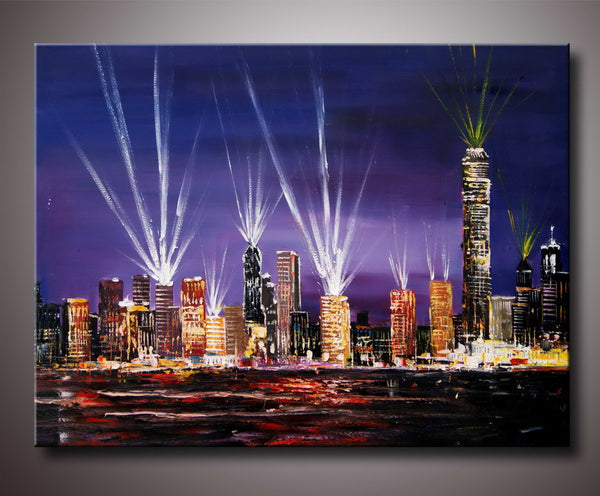 Hong Kong Cityscape Painting 40x30in