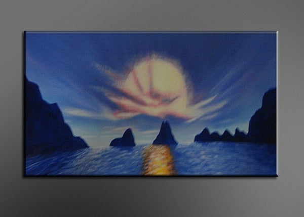Blue Sea Art Painting 119s - 32x16in