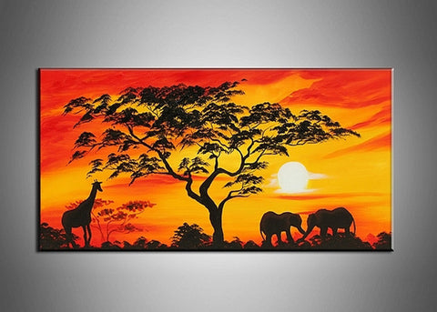 Sunset African Painting 157s - 32x16in