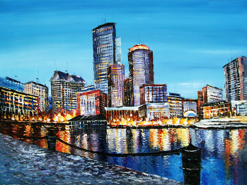 Boston Port Painting 40x30in
