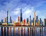 Chicago Cityscape Painting 40x30in