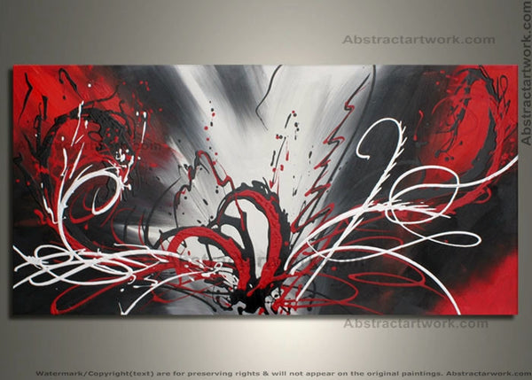 Single Panel Red Abstract Art 279 - 48x24in