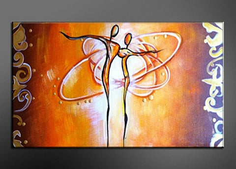 Orange Abstract Art Painting 325s - 32X16in