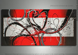 Red Abstract Artwork - Single Panel 331 - 48x24in