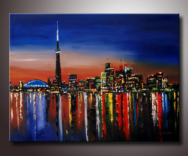 Toronto Night Cityscape Painting 40x30in