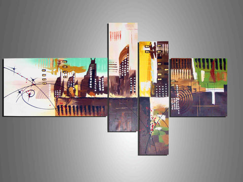 Abstract Cityscape Wall Art 460 - 60x35in