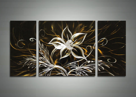 Black Flowers Metal Wall Art 48x24