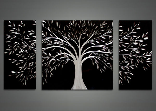 Black Abstract Tree Metal Wall Art Painting - 48x24in