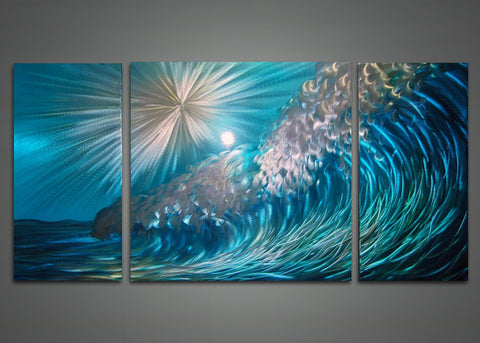 Wave Metal Wall Art Painting 48x24in
