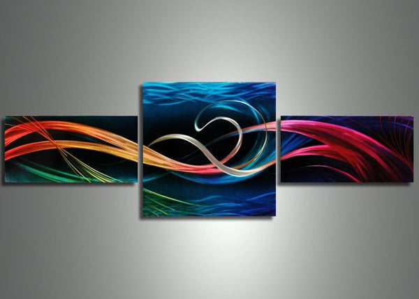 3 Panels Abstract Wall Art 48x24in
