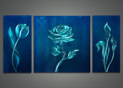 Blue Flower Metal Wall Art Painting 48x24in