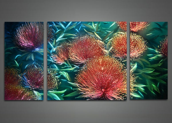 Red Flower Metal Wall Art Painting 48x24in